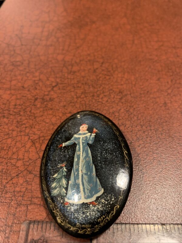 Vintage Russian Enamel Lacquer Winter Princess Slavic Wooden Pin Brooch