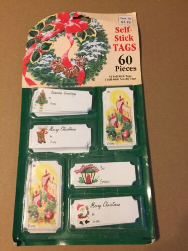 VINTAGE CHRISTMAS SELF-STICK TAGS 60 PIECES EUREKA NOS SEALED!
