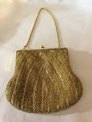 Vintage Glass Beaded Gold Evening Clutch / Wristet Handmade in Japan