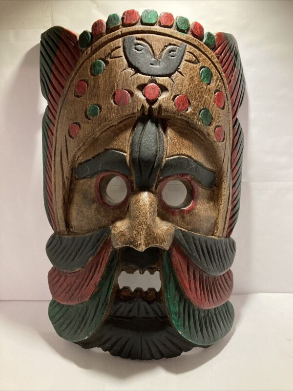 """Carved Wooden Tribal Mask Thailand Full Size 11"""" Hanging Wall Art"""