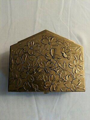 VTG Hammered Solid Bronze Wendell August Handmade Floral Napkin / Letter Holder