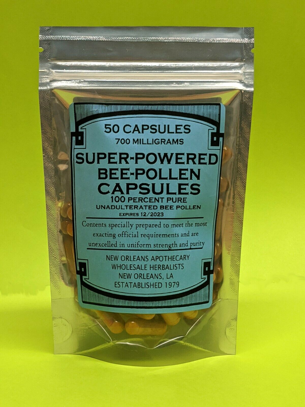 **Super Powered Bee Pollen Capsules** 700mg**100% PURE BEE POLLEN*DETOX*HEALTH