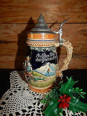 "West Germany beer stein 8"" high Aufder Alm EUC"