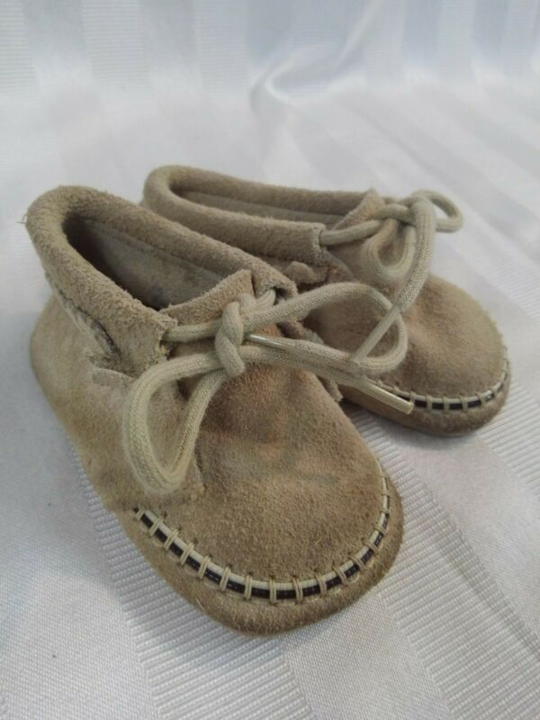 Vintage Suede Leather Baby Moccasins Shoes
