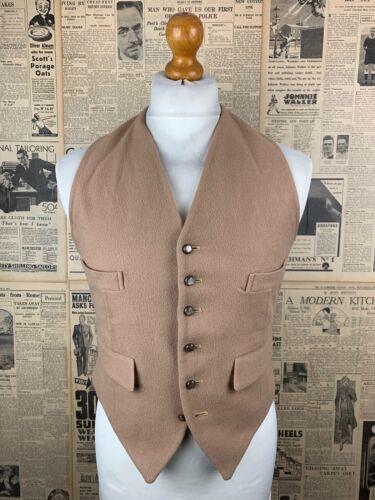 Vintage buff beige doe skin wool country waistcoat size 36 38