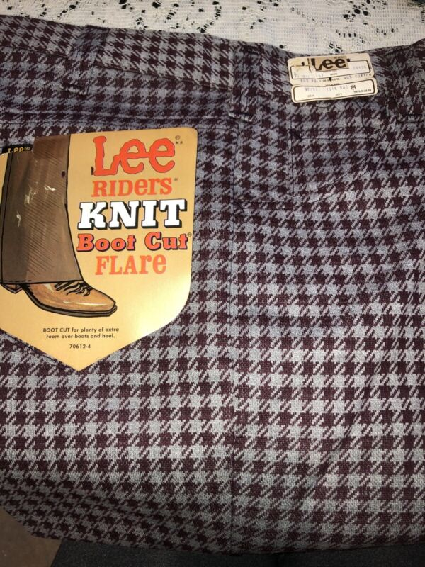 Vintage NOS W Tags Lee Riders Knit Boot Cut Flare Pants Houndstooth Pattern