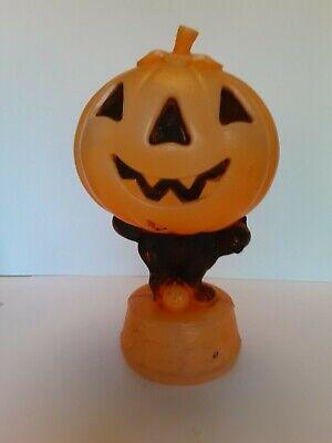 Old Vintage Halloween Jack O Lantern Cat Skeletons Blowmold Blow Mold Light ant2