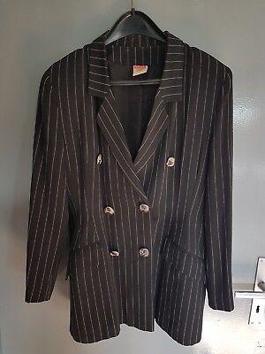 Damen Business Anzug Kostüm Gr.44 schwarz weiß Nadelstreifen Silvester festlich