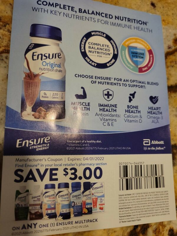 25 Ensure coupons Save $3 On Any Multipack Enlive Max Protein Plus 04/01/2022