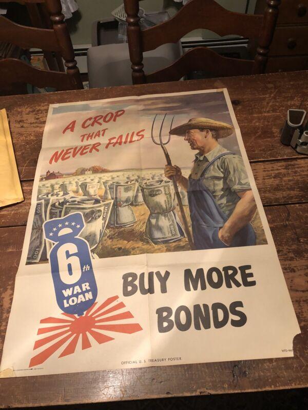 Antique Vintage American A Crop That Never Fails War Bond WWII Poster 20 x 28