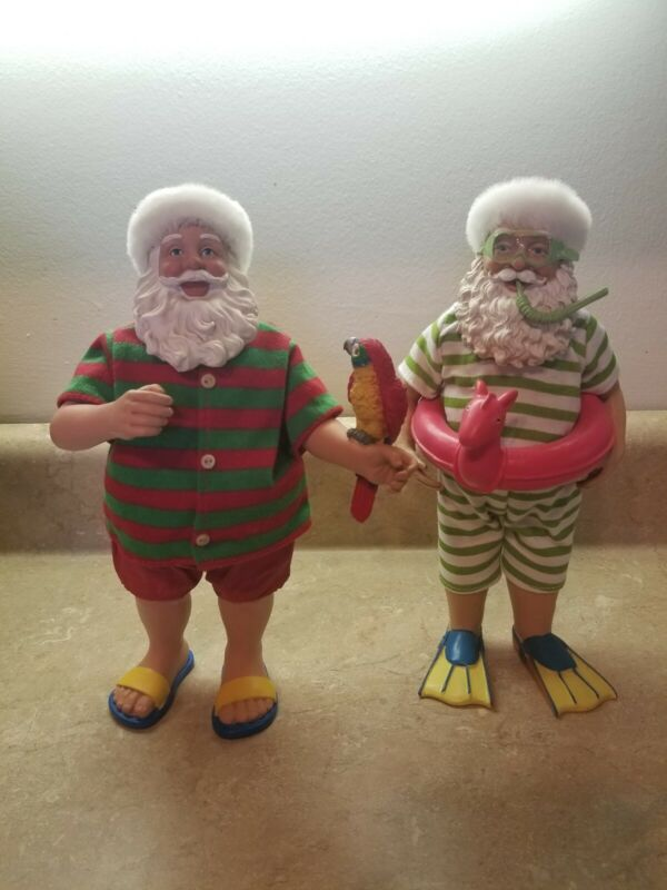 "2 Summertime Santa Christmas Floatie Parrot Flippers 10"" Figures"