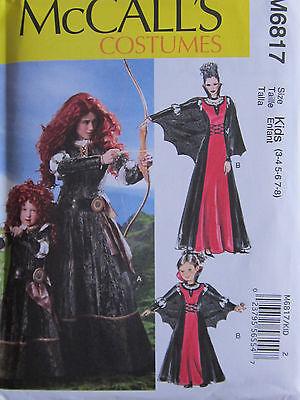 McCalls 6817 Merida Brave Archer Evil Queen Cape SEW  PATTERN Sizes 3-8 NEW