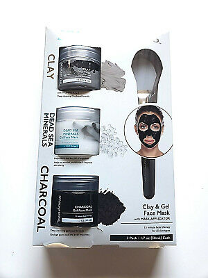 Spa Scriptions Clay Dead Sea Minerals & Charcoal Gel Face Masks with Applicator