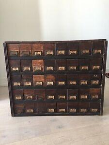 Vintage machine shop parts chest of drawers