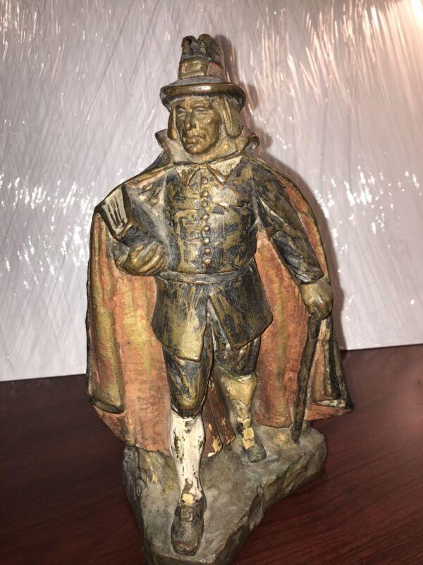Antique RUHL Bronze Clad Pilgrim Statue