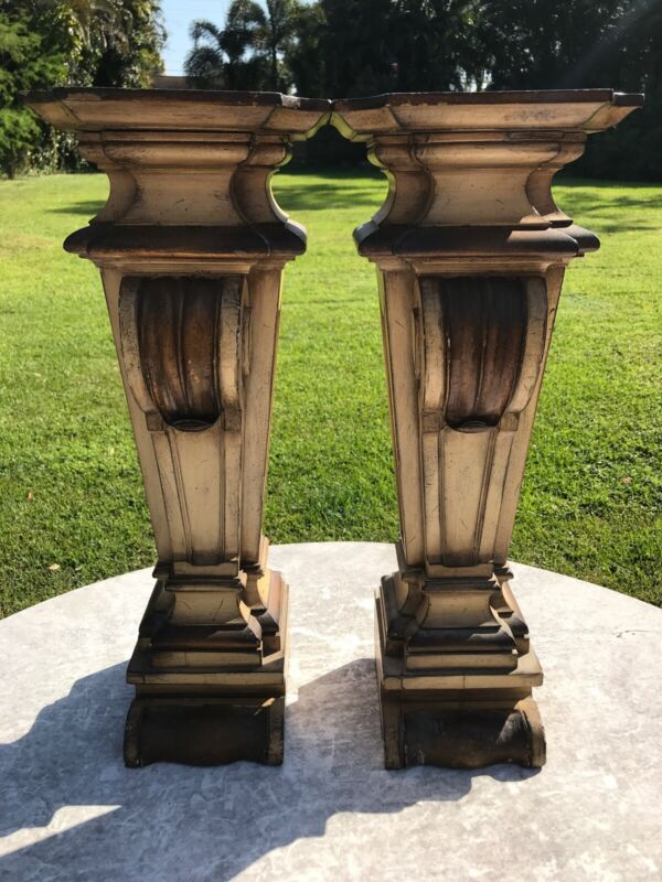 Pair of Vintage Possibly Antique Heavy Wood Architectural Corbels 24 Inches Tall