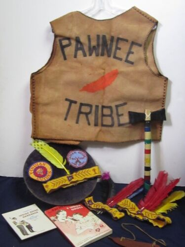 Vtg Lot of YMCA Indian Guides Pawnee Tribe Booklets Vest Headbands Patches Etc