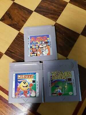 Dr. Mario / Tennis / Pac-Man Game Boy 3 Games Lot Authentic Tested & Working
