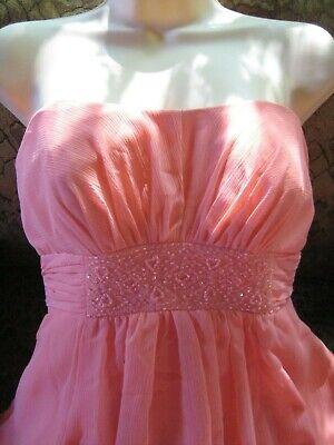 David's Bridal lt melon strapless bead trim long formal gown dress sz 4 ()