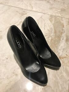 ALDO black enamel high heel (worn once)