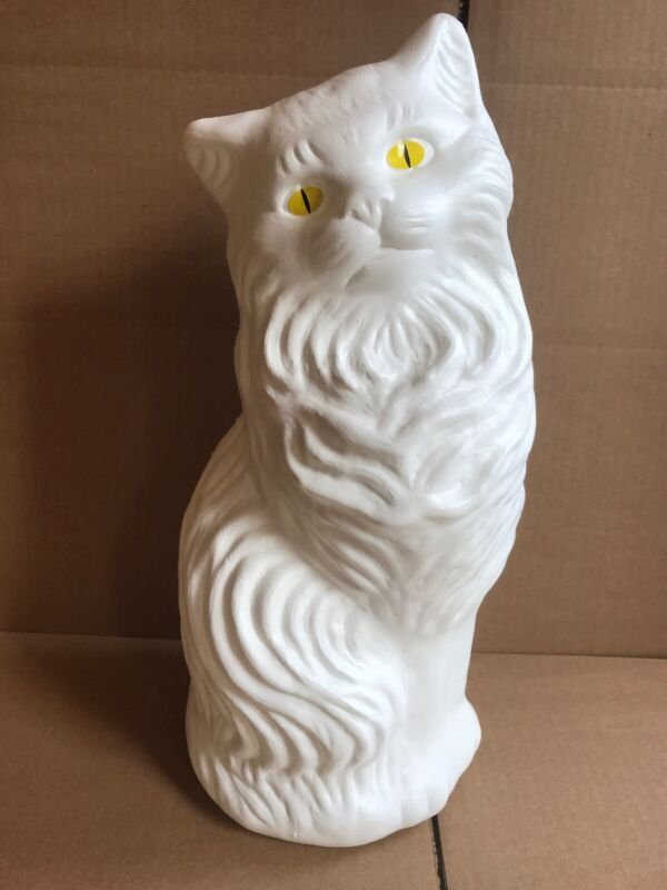 "Blow Mold White Cat Bank Decoration Yellow Eyes Union Product Large 17"" Inches"