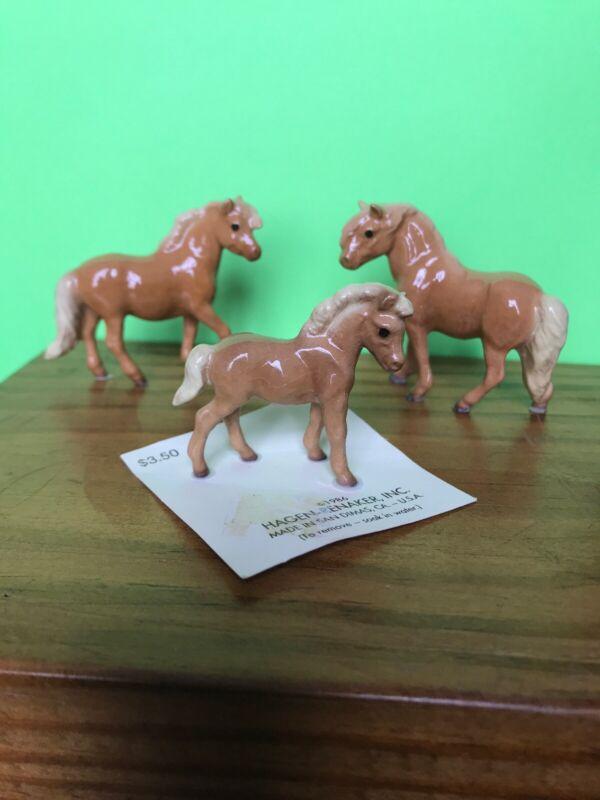 Hagen Renaker Shetland Pony Horse Family Palomino Stallion Mare Foal
