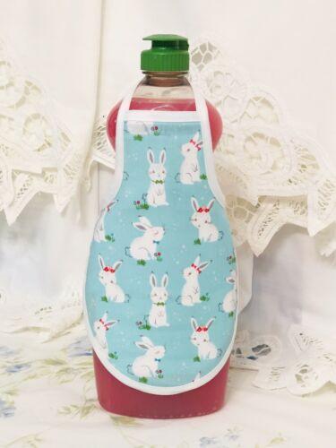Bunny Rabbits Easter Blue Kitchen Decor Dish Soap Lotion Bottle Apron fits 25 oz