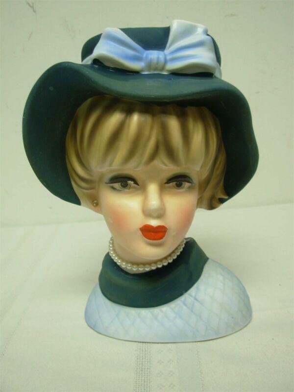 "VINTAGE NAPCO PRETTY BLUE LADY HEAD VASE with PEARL NECKLACE ~ 7 1/2"""