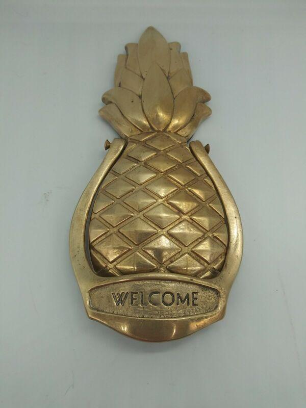 """Vintage Solid Brass Pineapple Door Knocker """"Welcome"""" Handle"""