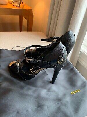 Fendi Black Leather Open Toe Mary Jane Peep High Heel Sandal Shoes 39 EU 8.5 US