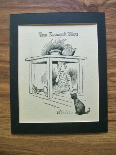 Print Farmers Wife Gordon Robinson Hide Under Table Cat 1930s Bookplate Matted