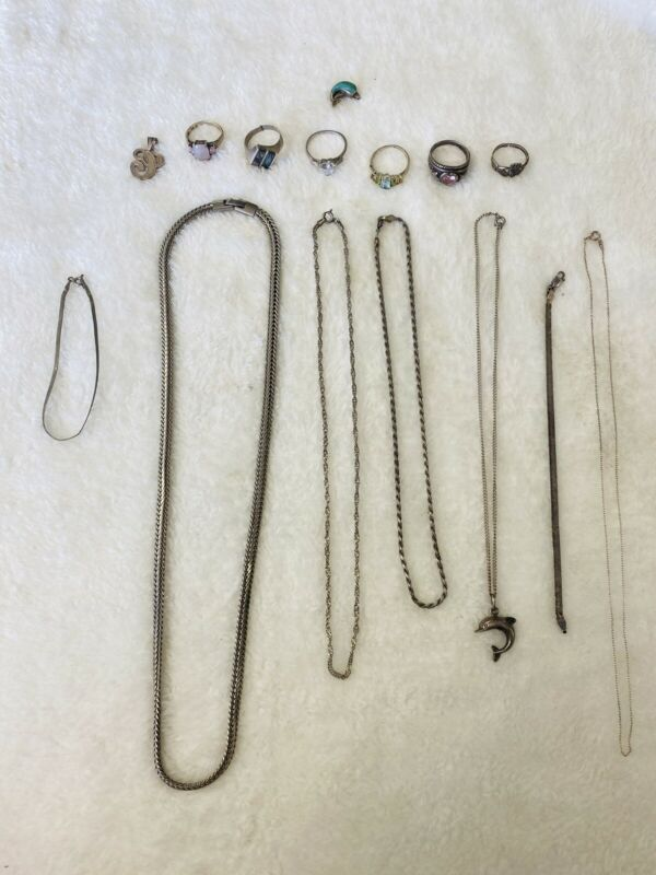 sterling silver scrap lot some wearable some scrap 72.8 grams look at pics