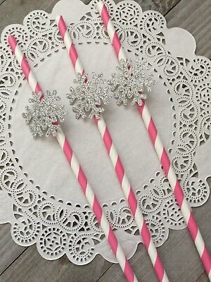 Snowflake Straws, Winter Wonderland Decor, Pink & White Paper Straws, 10 Ct.