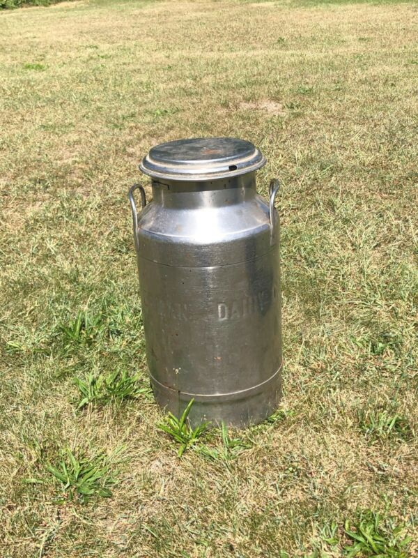 Vintage Stainless Steel Milk Can 5 Gallon with lid