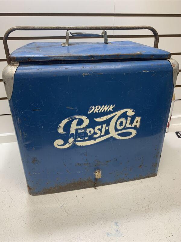 Vintage Blue White Pepsi Cola 1950s Beach Cooler - Original Paint