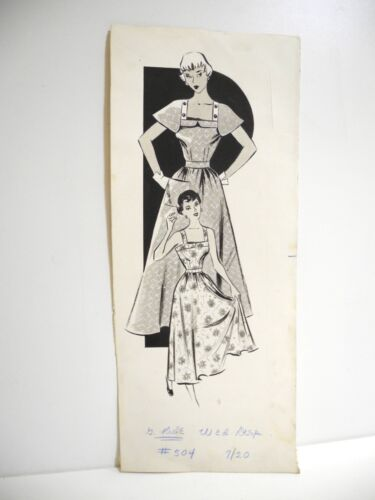 1940s Original Art Fashion Illustration Design Advertising Print Vintage SALE!
