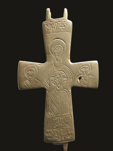 RARE Ancient Byzantine Bronze Christian Cross w/ Christ, Mary, 9-11th Cent. AD
