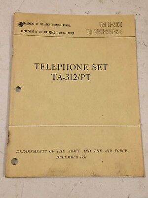 Army Signal Corps TA-312 Field Telephone TM 11-2155 for sale  Le Claire