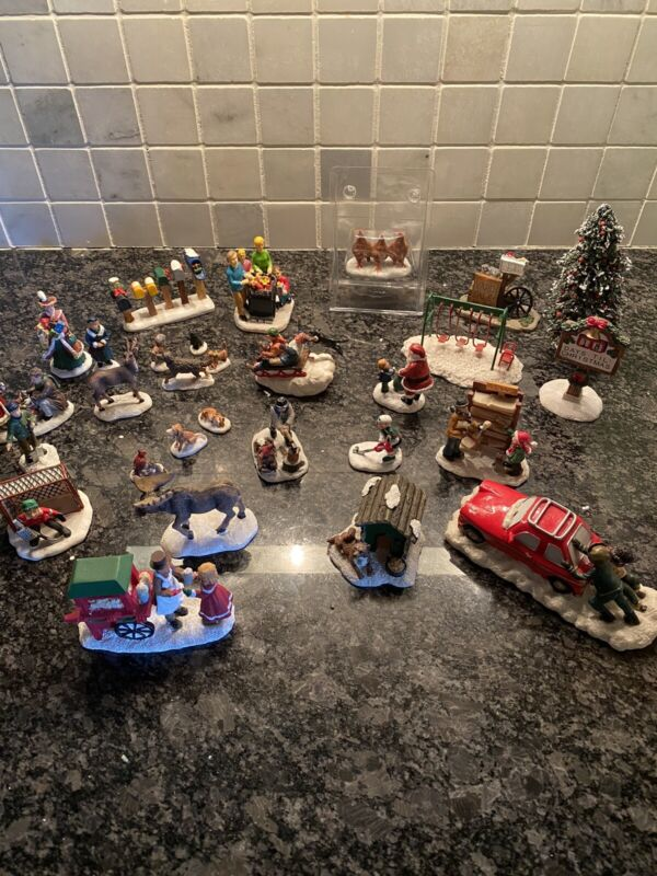 St Nicholas Square Christmas Village Accessory Figurine Lot ~30 Items Excellent