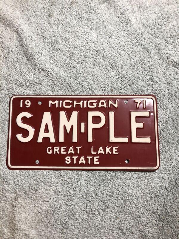1971 Michigan Sample License Plate Great Lake State