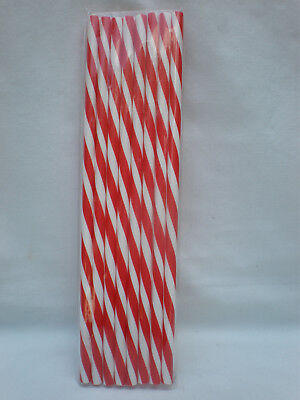 Christmas Red & White Striped Swirl Reusable Straws 9