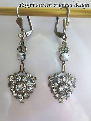 Edwardian earrings clear crystal pearl dainty vintage drop Art Nouveau Art Deco