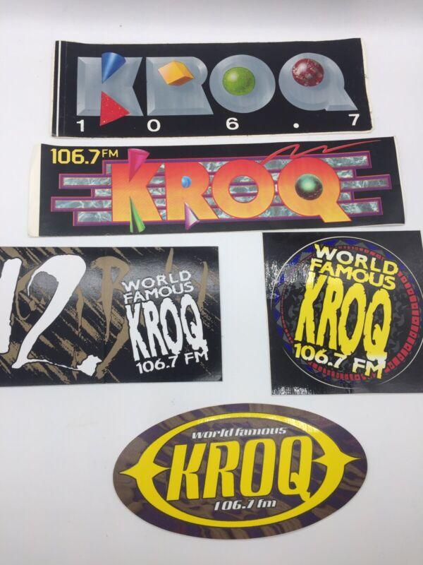 5 Vintage KROQ 106.7 FM Bumper Stickers 1980s-90s Los Angeles Rock Radio