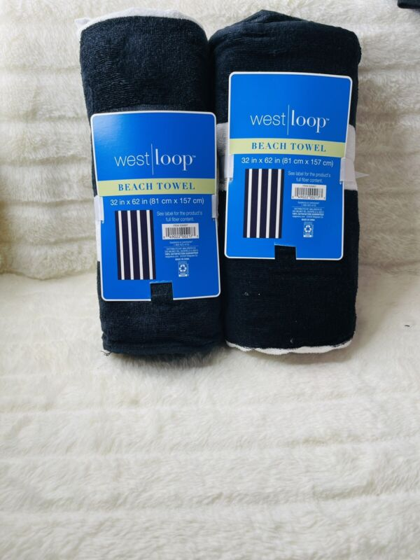 2- New Westloop Beach Black &  White   Striped Towels 32 X 62 Brand New