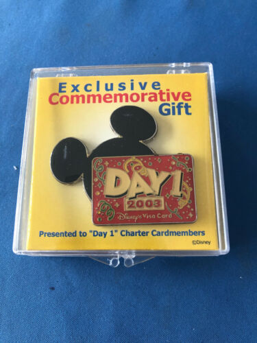 DAY 1  Disney Pin 2003 VISA EXCLUSIVE CHARTER GIFT New in Plastic BOX