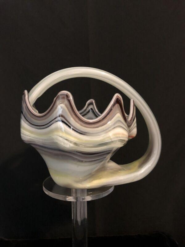 Murano Glass Vtg Purple Yellow White Handled Bowl Art Deco Candy Dish MCM