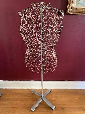 Antique Metal Wire Dress Form Mannequin Store Display Stand Decor Vintage