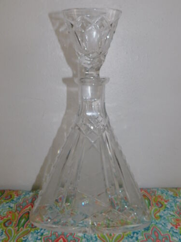 Antique EAPG American Brilliant Cut Glass Triangle Liquor Decanter & Stopper