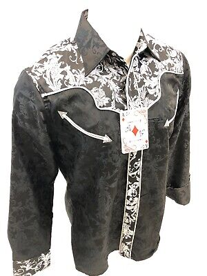 Western Rodeo (Mens RODEO WESTERN COUNTRY BLACK PAISLEY Long Sleeve Woven SNAP UP Shirt)