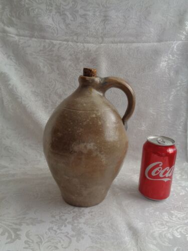 Antique Early 19Th Century  Ovoid Redware or Stoneware Jug